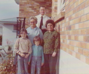 1.1 Bryan with his mother Jessie THOMAS nee HALLAM and his family taken at Tauranga, New Zealand about 1975