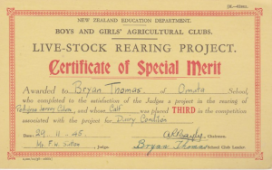 1.1 Certificate of Special Merit Live Stock Rearing 1945