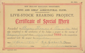 1.1 Certificate of Special Merit Live-Stock Rearing Project 1944