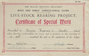 1.1 Certificate of Special Merit Live-Stock Rearing Project