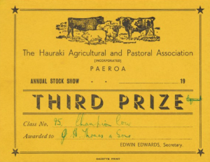1.1 Third Prize Champion Cow, Annual Stock Show, The Hauraki Agricultural and Pastoral Association Paeroa