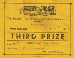 1.1 Third Prize Hauraki Agricultural and Pastoral Association Paeroa Annual Stock Show 1953 YFCI Heifer Calf Light Breed