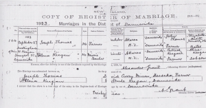 1.3 Joseph William THOMAS and Helena Caroline KEEGAN New Zealand Marriage Register