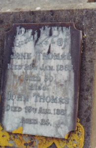 Headstone of Jane THOMAS nee WOODILL and John Woodill THOMAS